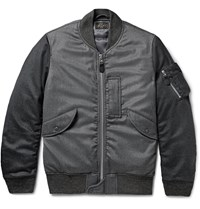 Beams Plus Two Tone Wool Blend Flannel Bomber Jacket Gray