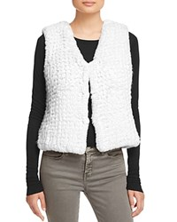 Aqua Knit Faux Fur Vest White