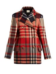 Khaite Clara Double Breasted Checked Wool Blend Coat Red Multi