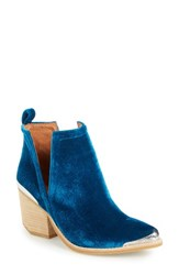 Jeffrey Campbell Women's 'Cromwell' Cutout Western Boot Turquoise Velvet