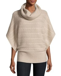 Neiman Marcus Cashmere Cable Knit Poncho Sweater Oatmeal