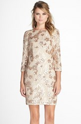 Women's Aidan By Aidan Mattox Embroidered Floral Sequin Dress Champagne