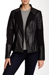 7 For All Mankind Leather Ponte Moto Jacket Black