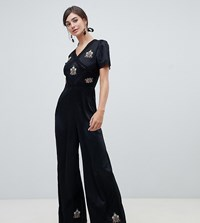 4734217c0ab5 Asos Design Tall Tea Jumpsuit With Embroidery And Lace Insert Black