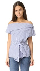 J.O.A. Off The Shoulder Stripe Tunic Blue White