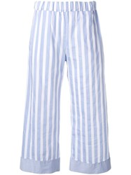 Semicouture Striped Cropped Trousers Blue