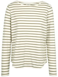 Fat Face Breton Stripe Top Soft Khaki