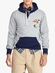 Ralph Lauren Polo Rugby Bear Hoodie Andover Heather