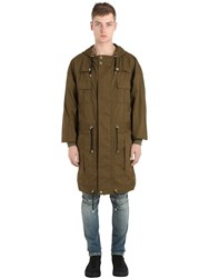 Balmain Multi Pocket Hooded Cotton Canvas Parka