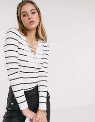 Morgan Lace Up Breton Stripe Top In Multi