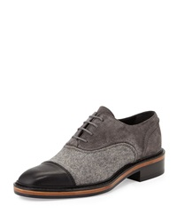 Felt And Suede Lace Up Oxford Gray Lanvin