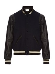 Saint Laurent Wool And Leather Bomber Jacket Navy
