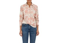 Brock Collection Women's Floral Print Cotton Voile Shirt Pink Ivory