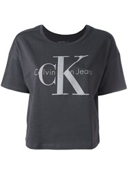 Calvin Klein Jeans Boxy Logo T Shirt Women Cotton M Grey