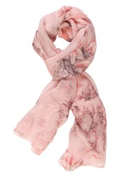 Chesca Branch And Rose Printed Scarf Pink