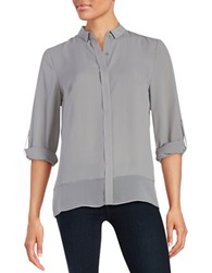 T Tahari Chiffon Button Front Blouse Silverpoint