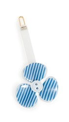Alexandre De Paris Striped Flower Clip Blue White Stripe