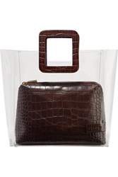 Staud Shirley Pvc And Croc Effect Leather Tote Brown