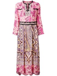Etro Embroidered Piasley Kaftan Dress Women Viscose Glass 44 Pink Purple