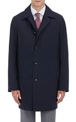 Kiton Men's Wool Silk Coat And Removable Lining Navy