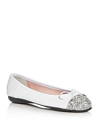 Paul Mayer Brill Brighton Glitter Ballet Flats White Silver