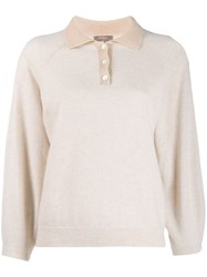 N.Peal Contrast Collar Polo Top Neutrals