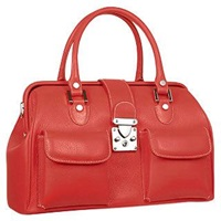 L.A.P.A. Front Pocket Calf Leather Doctor Style Handbag Ruby