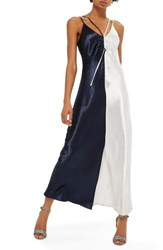 Topshop Women's Colorblock Strappy Satin Maxi Dress