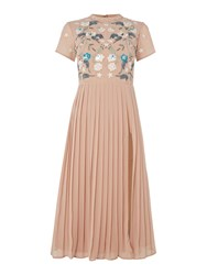 Frock And Frill Short Sleeved High Neck Midi Dress Blush