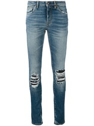 Saint Laurent Ripped Detail Jeans Blue