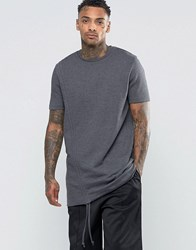 Asos Super Longline T Shirt With Side Ruching In Heavyweight Jersey Charcoal Grey