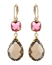 Indulgems Smoky Quartz And Pink Glass Station Teardrop Earrings