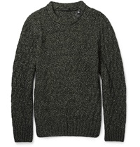 Belstaff Ferndale Cable Knit Cotton And Wool Blend Sweater Green