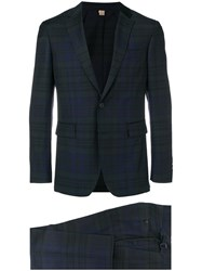 Burberry Slim Fit Check Suit Blue