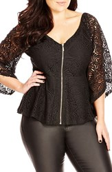 Plus Size Women's City Chic Lace Bell Sleeve Top