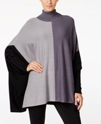 Alfani Colorblocked Turtleneck Poncho Only At Macy's Colorblock Grey