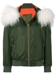 Mr And Mrs Italy Customisable Bomber With Fur Collar Green