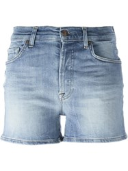 7 For All Mankind Stretch Mid Rise Shorts Blue