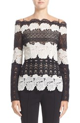 Yigal Azrouel Women's Mixed Lace Off The Shoulder Top