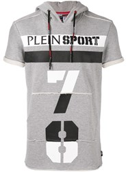 Plein Sport Tiger Print Shortsleeved Hoodie Grey