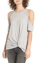 Women's Bp. Twist Front Cold Shoulder Tee Grey Medium Heather