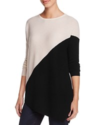 Bloomingdale's C By Cashmere Asymmetric Colorblock Sweater 100 Exclusive Snow With Black