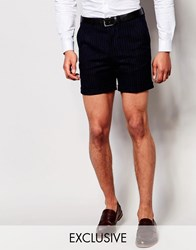 Noose And Monkey Pinstripe Tailored Shorts With Turn Up In Super Skinny Fit Navy
