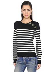 Saint Laurent Striped Wool Knit Sweater With Buttons