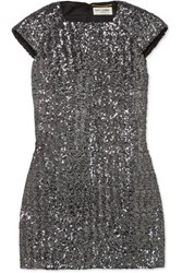 Saint Laurent Sequined Crepe Mini Dress Silver
