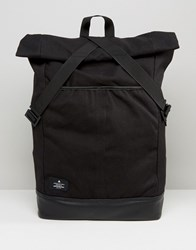 Asos Backpack With Canvas Roll Top And Tape Fastening Black