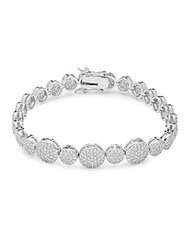 Saks Fifth Avenue Cubic Zirconia And Silver Disc Bracelet Rhodium