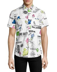 Kenzo Cartoon Logo Print Short Sleeve Shirt White