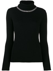 Pinko Embellished Ribbed Turtleneck Jumper Black