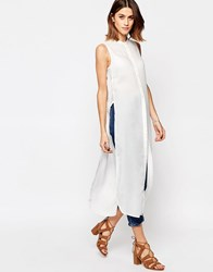 Vero Moda Side Split Tunic Top Snow White
